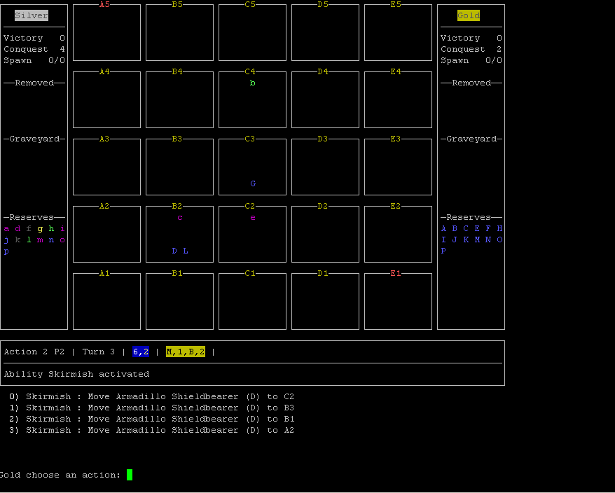 Screenshot of ncurses console version